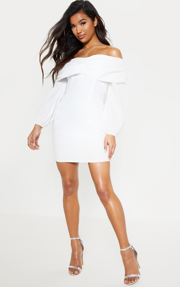 White Puff Sleeve Ruched Bardot Bodycon Dress 5