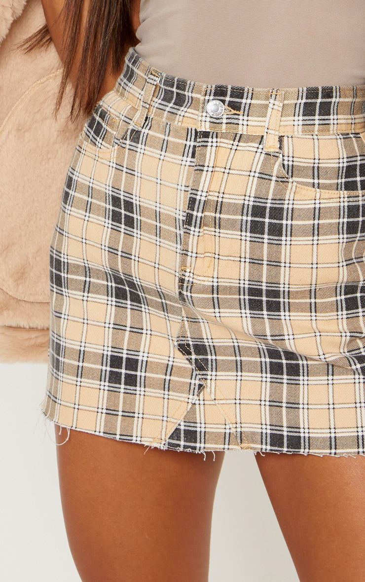 Stone Check Denim Skirt 6