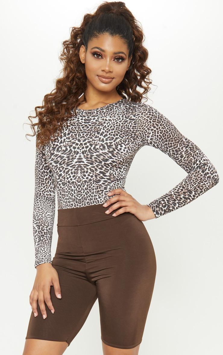 Tall - Body moulant manches longues marron à imprimé léopard 5