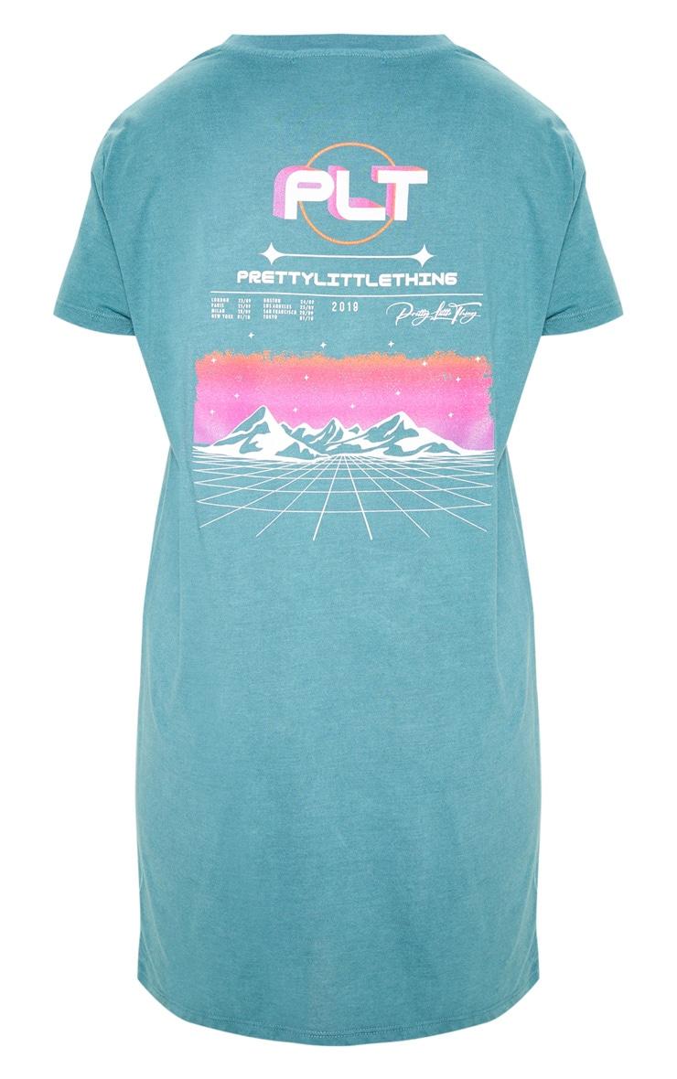 PRETTYLITTLETHING Teal Mountain Slogan Oversized T Shirt Dress 4