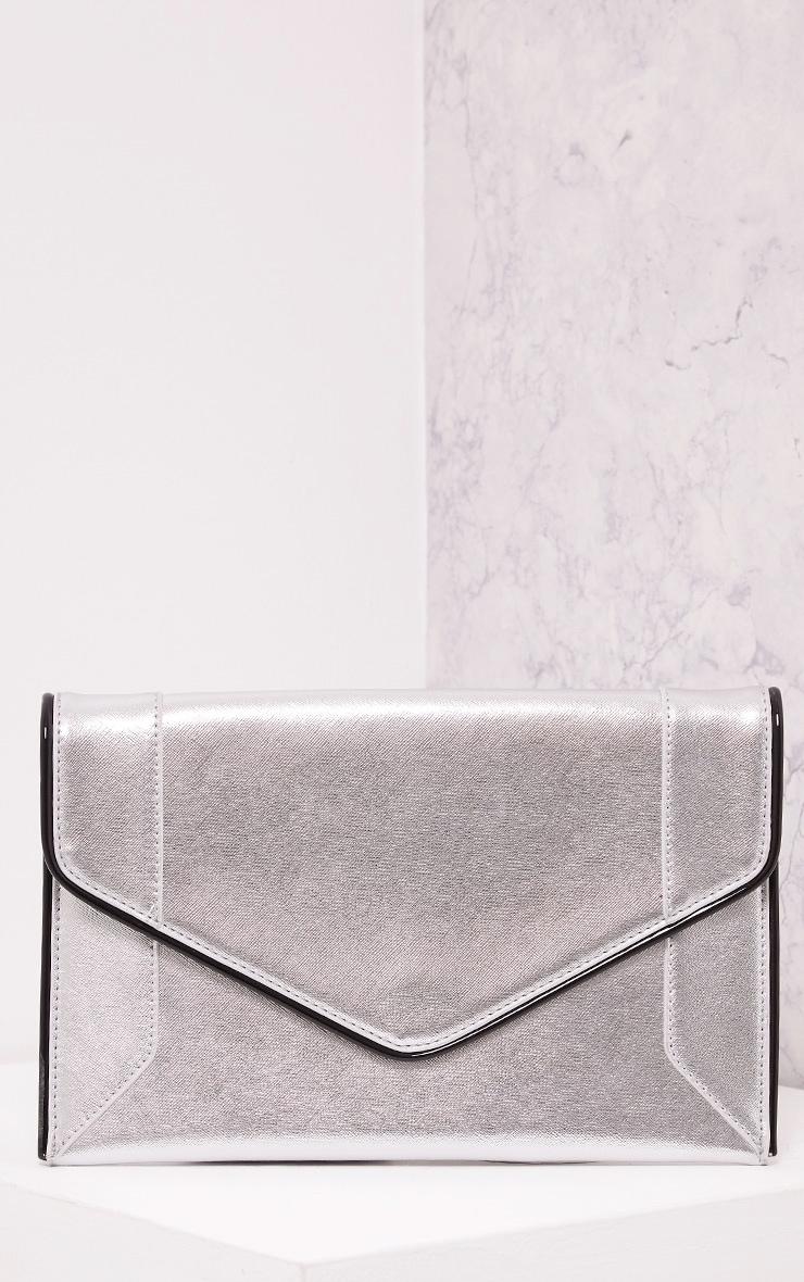 Wilona Silver Metallic Envelope Clutch 1