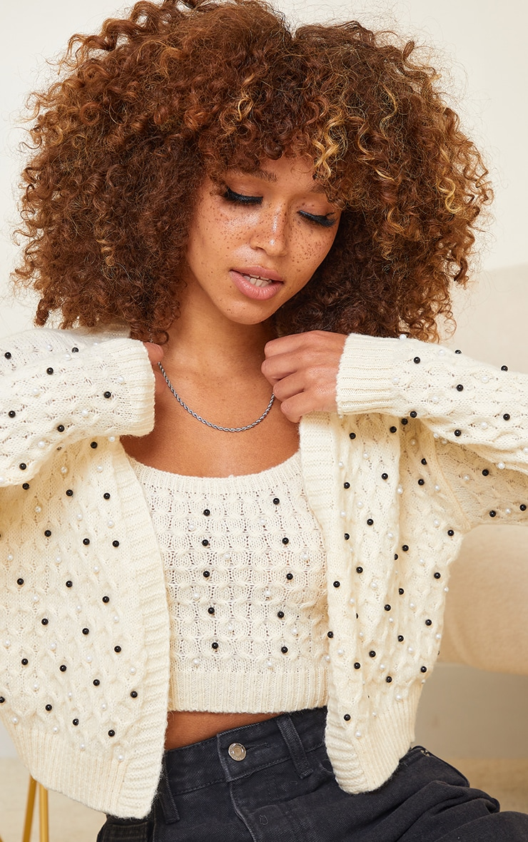 Cream Embellished Knitted Cardigan 4