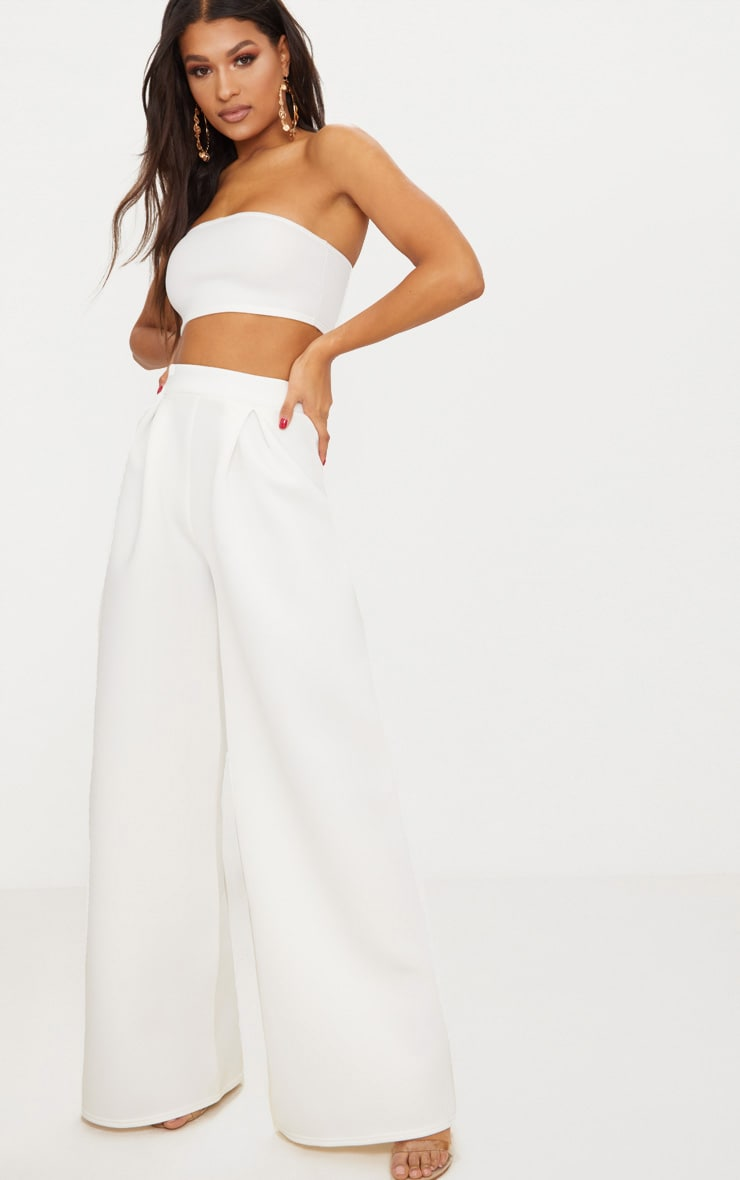 White Bonded Scuba Pleated Extreme Wide Leg Pants 2