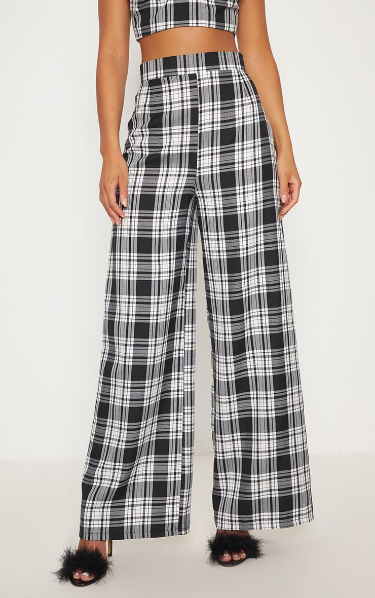 Monochrome Check High Waisted Wide Leg Trousers 3