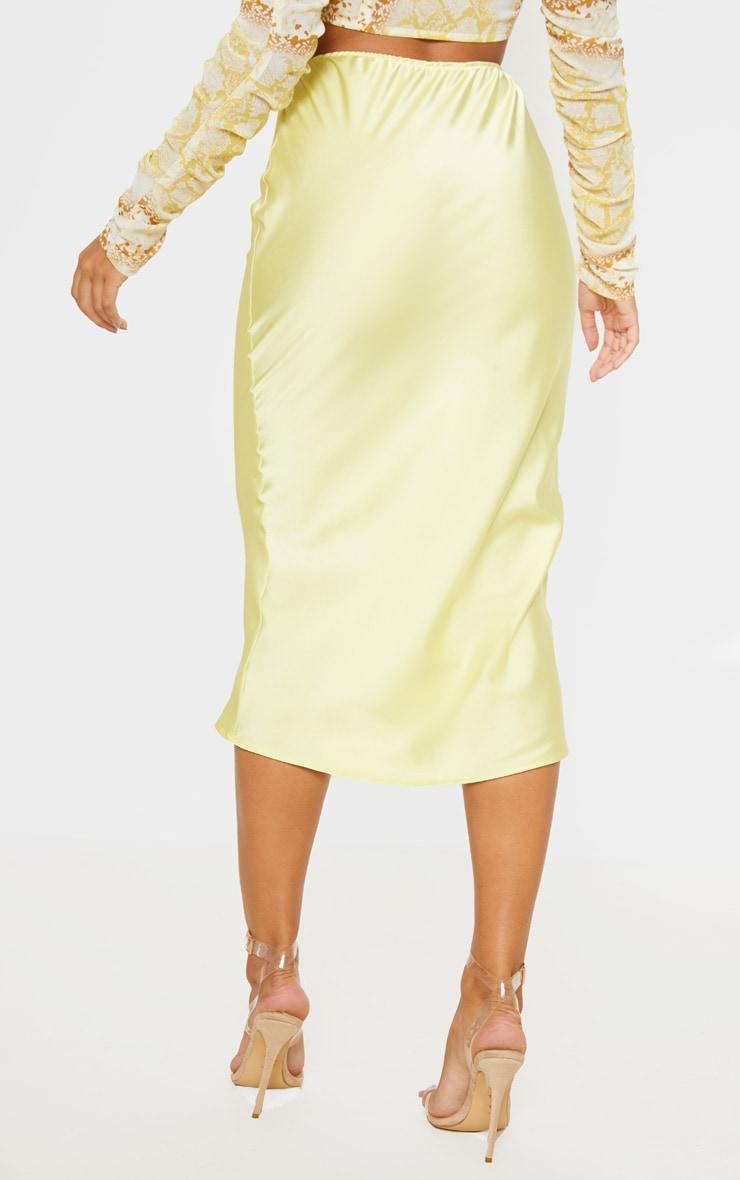 Pale Yellow Satin Midi Skirt  4