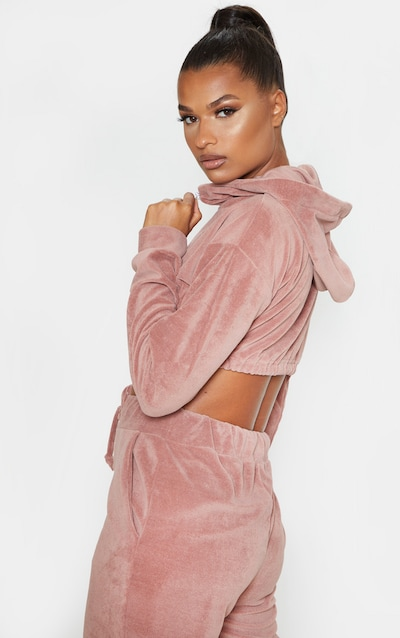 Rose Mix & Match Velour Zip Detail Crop Sweater
