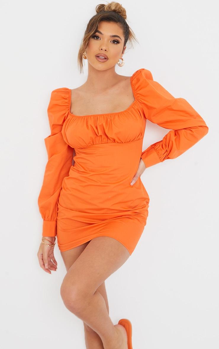 Orange Ruched Bust Square Neck Long Sleeve Shift Dress 3
