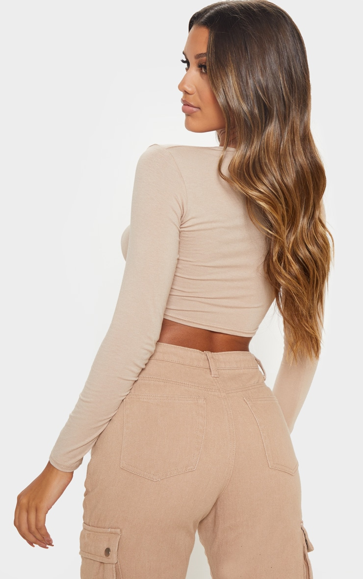 Sand Jersey V Ruched Long Sleeve Crop Top 2