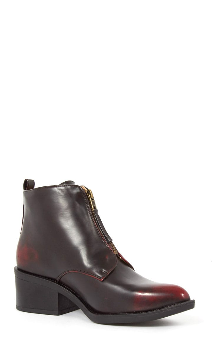 Rika Oxblood Zip Front Pointed Ankle Boot  3
