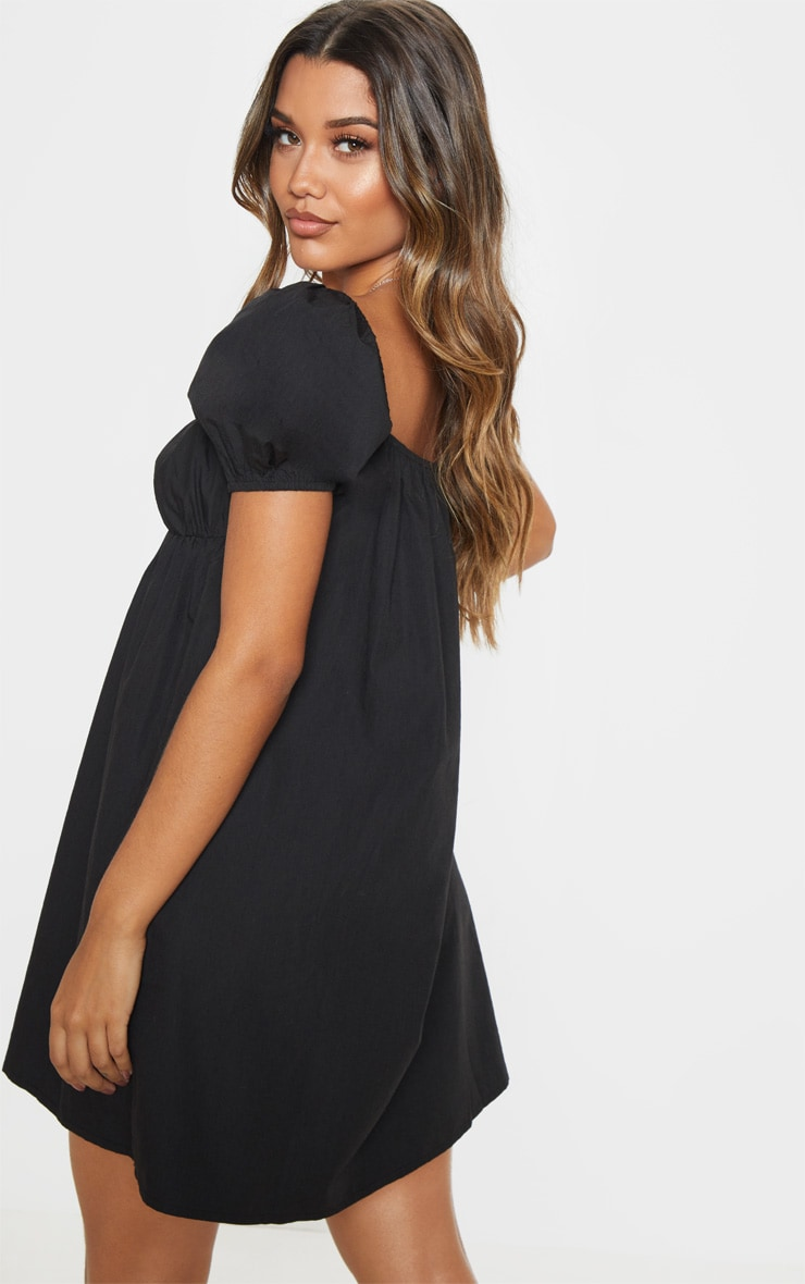 Black Button Through Ruched Shift Dress 2