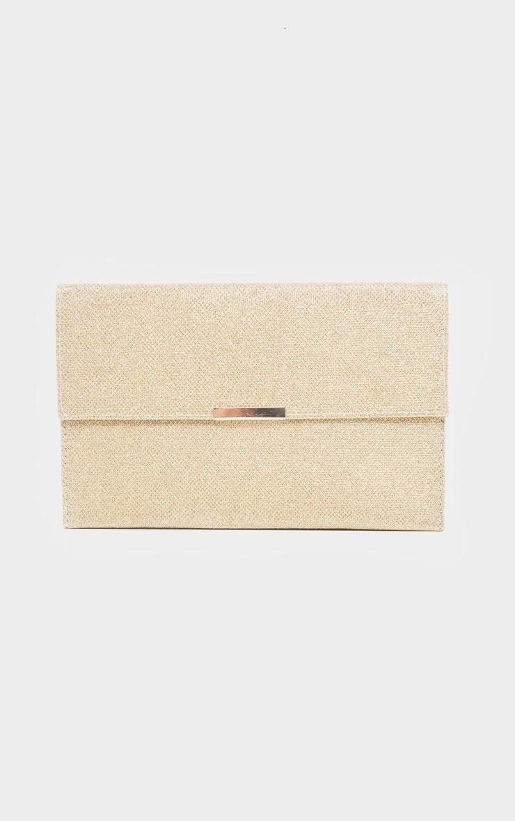 Pochette à paillettes texturées dorée 2