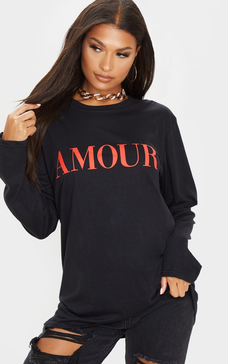 Black Amour Slogan Long Sleeve T-Shirt 1