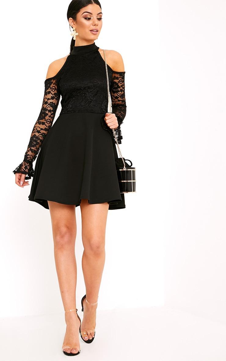 Belindia Black Lace Cold Shoulder Skater Dress 4