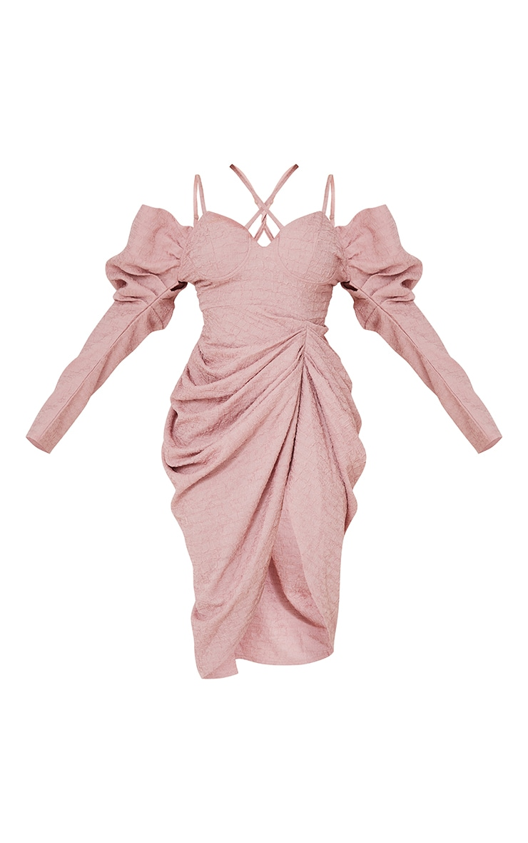 Pink Puff Sleeve Cross Strap Draped Midi Dress 5