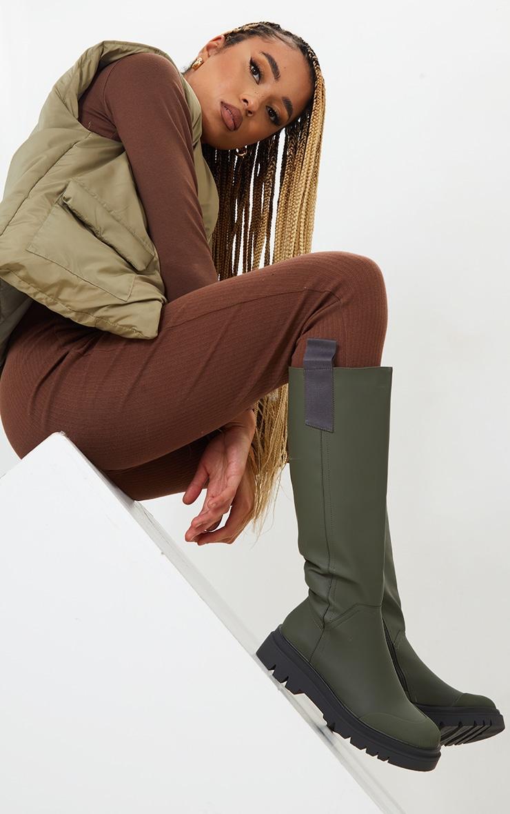 Khaki Rubber Chunky Sole Rain Boots 1