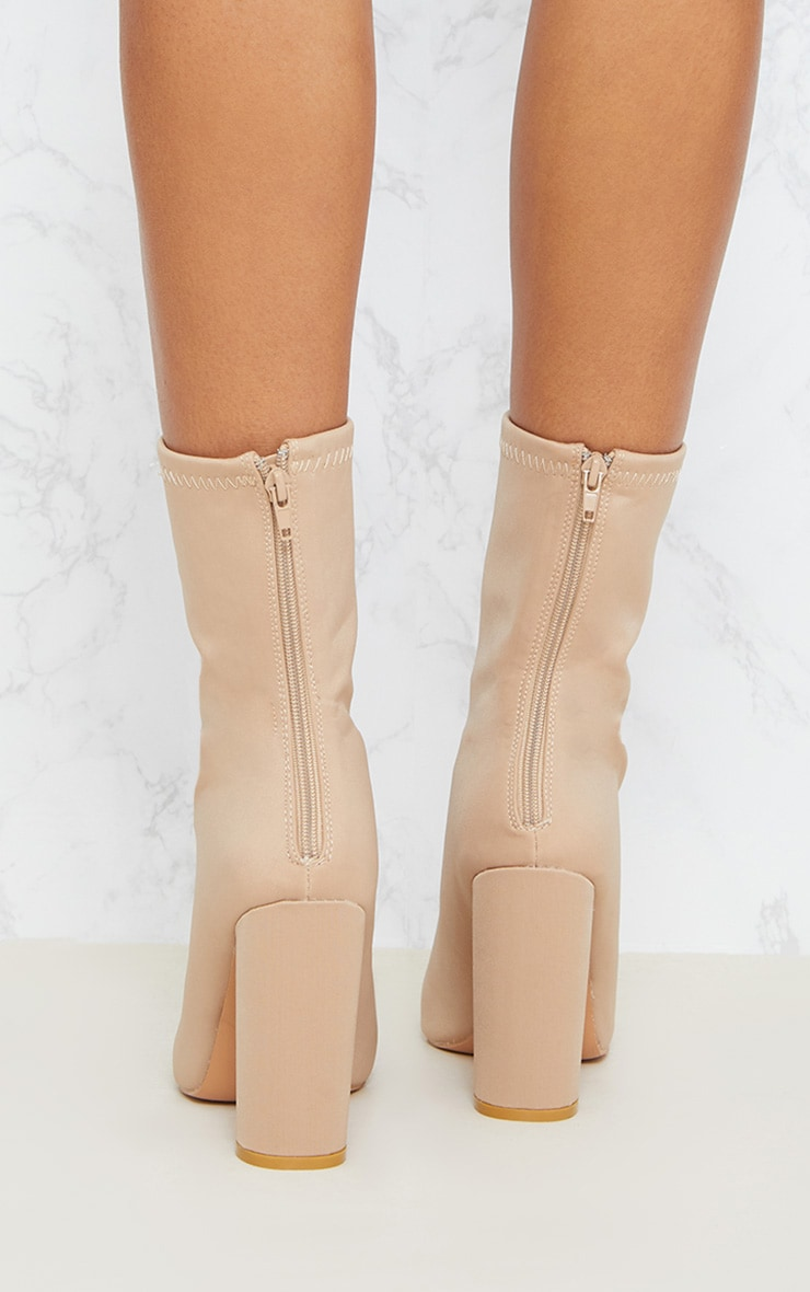 Addie Nude Neoprene Pointed Sock Boots 4