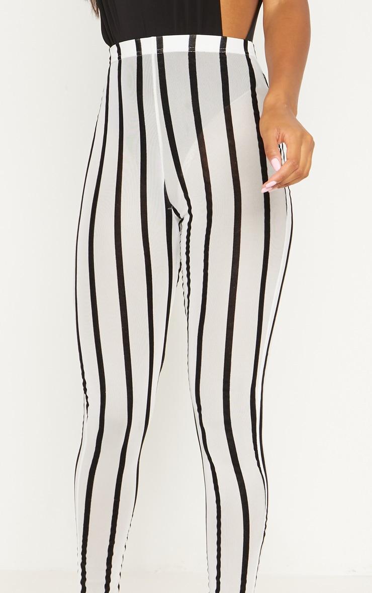 White Mesh Stripe Legging 5