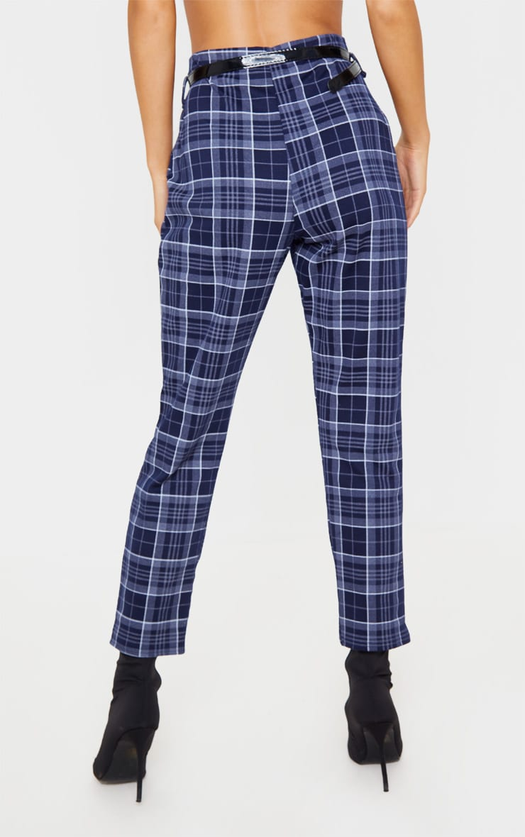 Navy Check Belted Skinny Pants 4