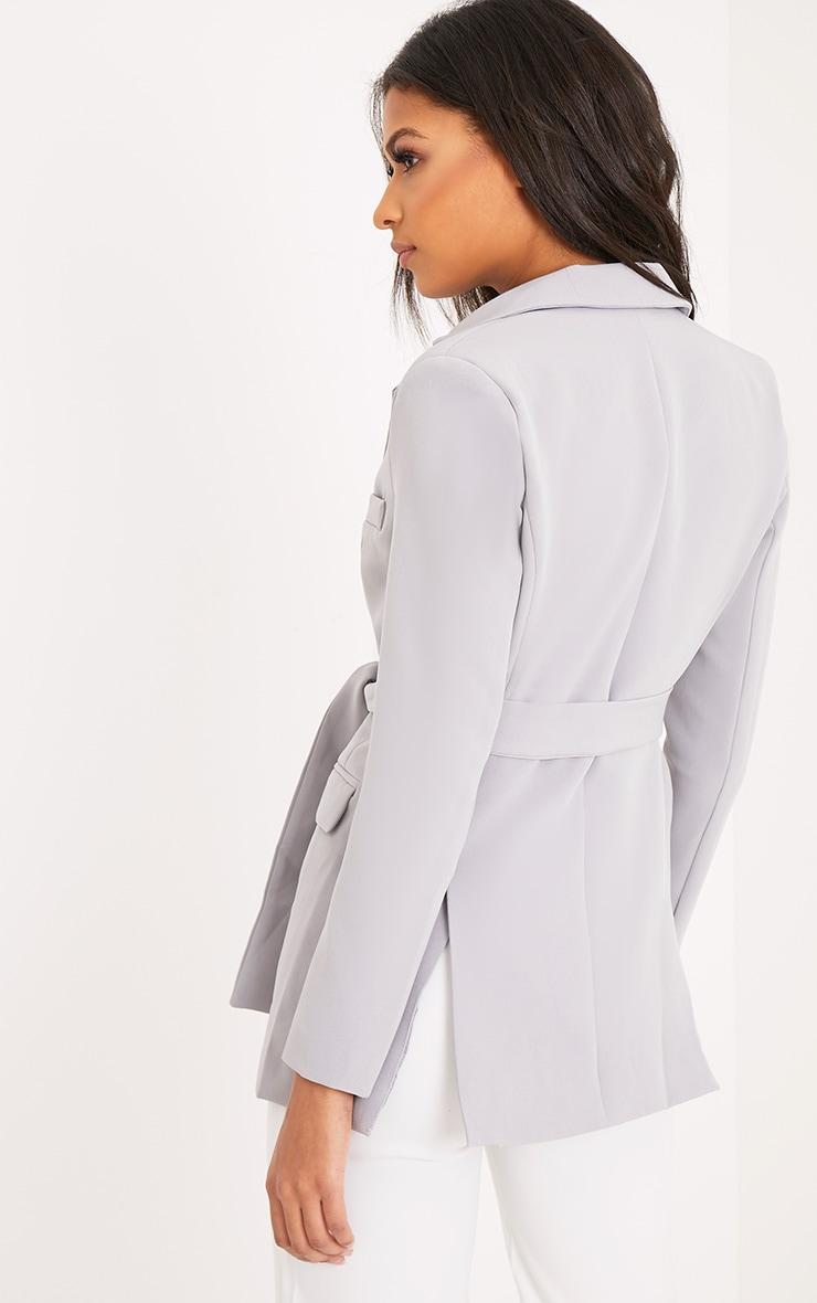Rebecca blazer à ceinture gris clair 2