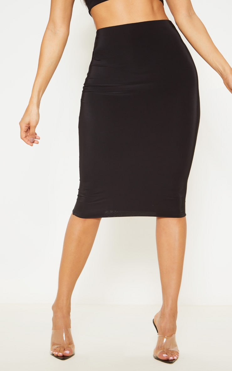 Black Second Skin Slinky Midi Skirt 2