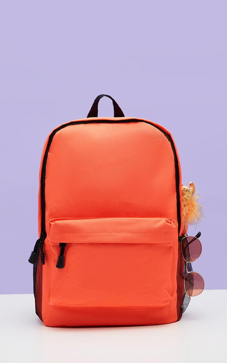 Neon Orange Nylon Rucksack 2