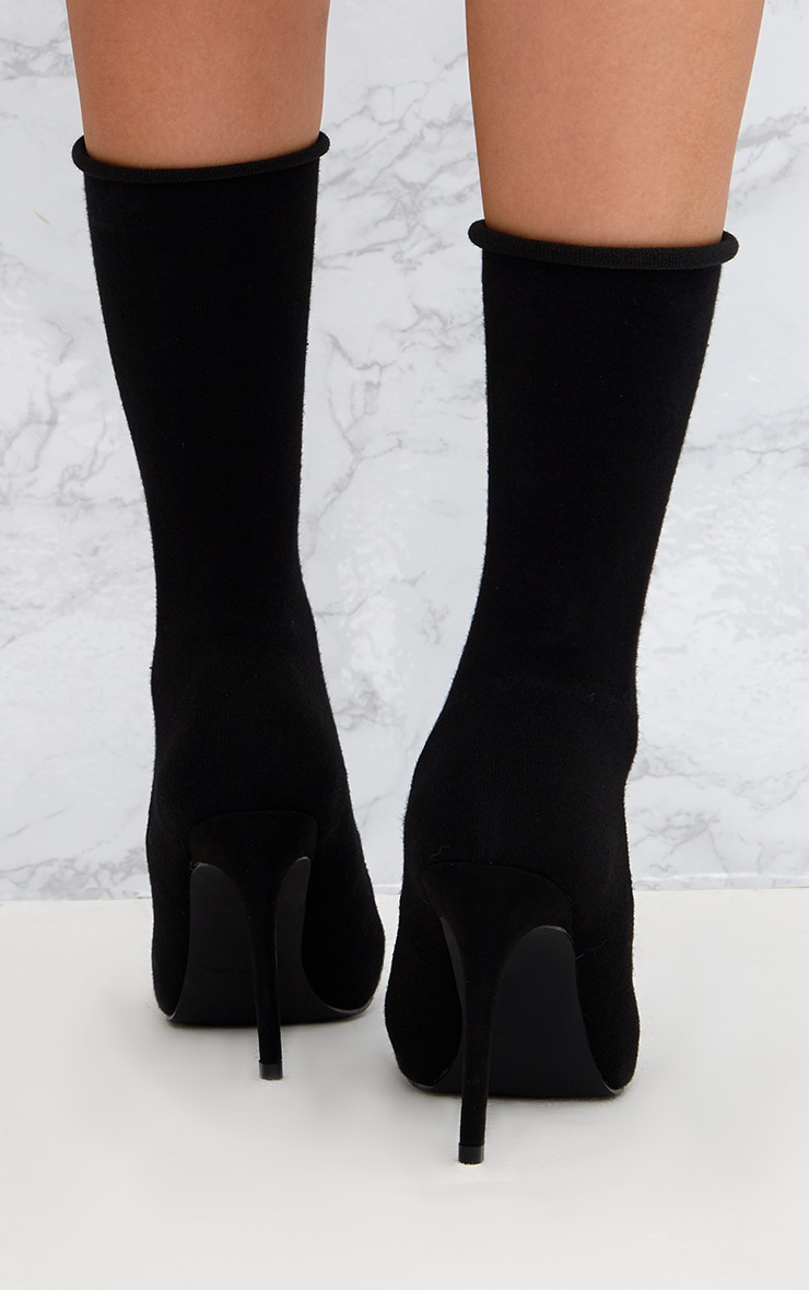 Black Knitted Sock Boots 4