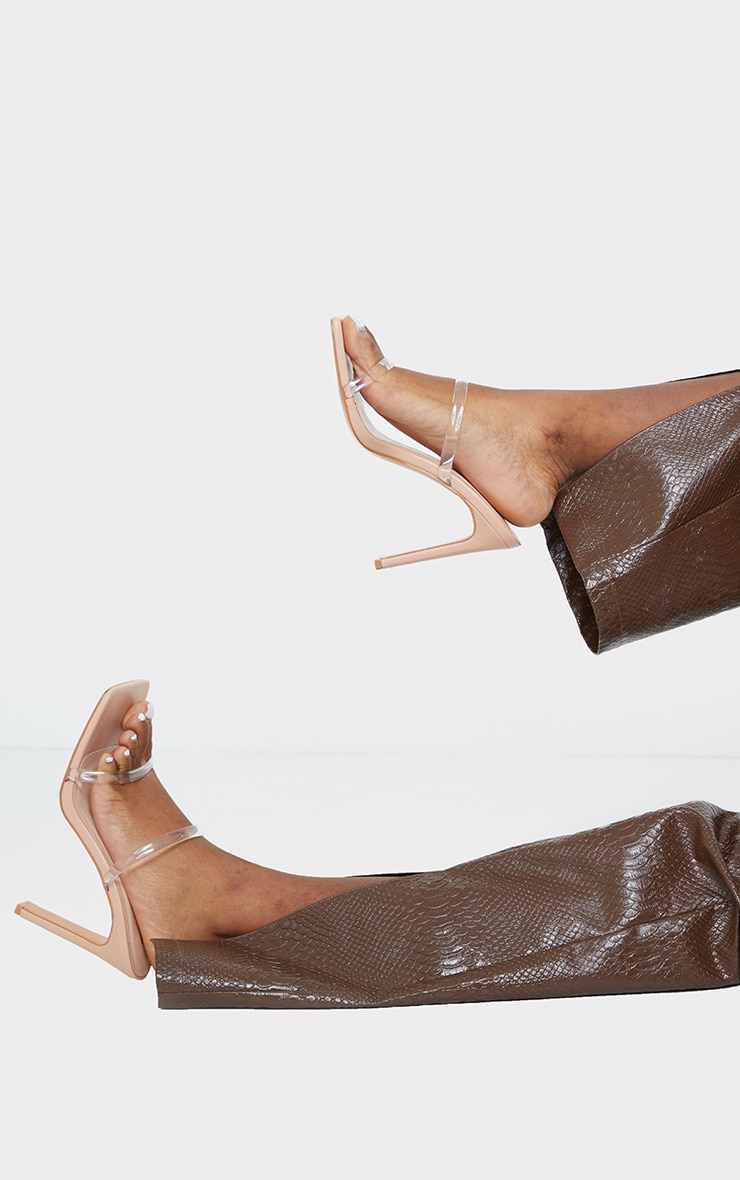 Nude Wide Fit PU Square Toe Clear Double Strap Clear Heeled Mules 2