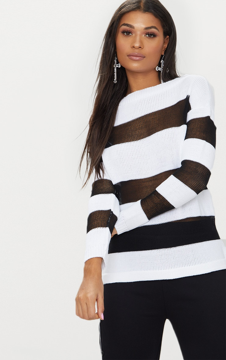 Black Sheer Stripe Jumper 1