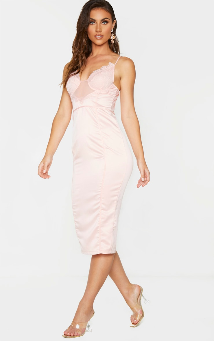 Blush Strappy Lace Insert Binding Midi Dress 3