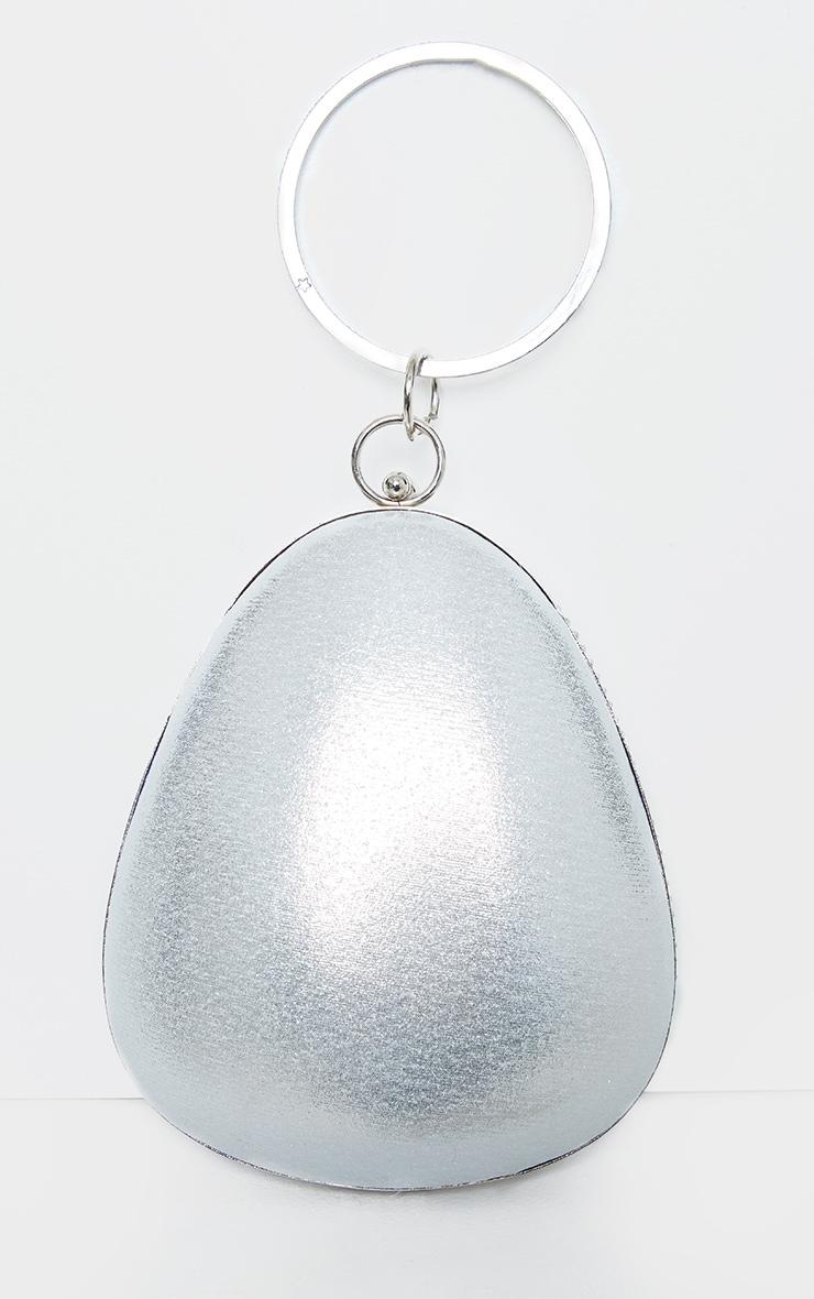 Silver Diamante Oval Bag 3