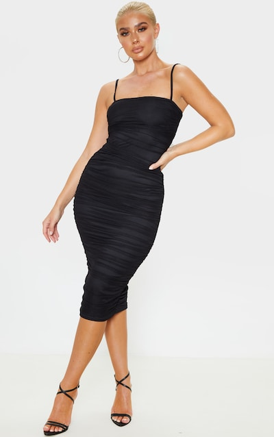 Black Strappy Mesh Ruched Midaxi Dress