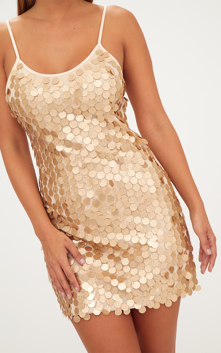 Gold Glitter Sequin Front Cami Dress  5