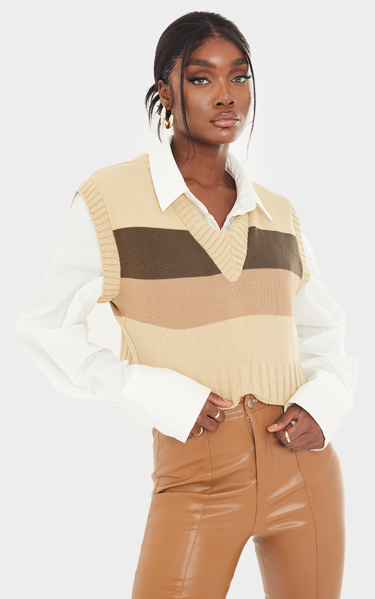 Tall Nude Striped Cropped Vest 1