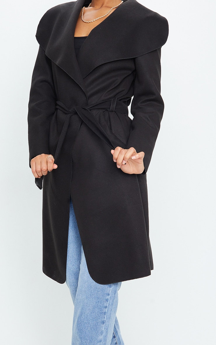 Veronica Black Oversized Waterfall Belt Coat 4