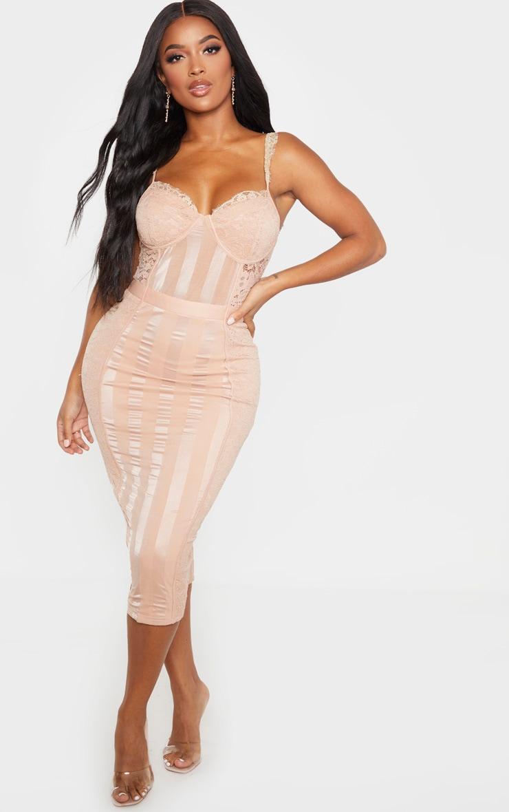 Shape Stone Lace Mesh Stripe Midi Dress 1