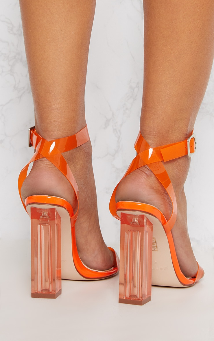Orange Coloured Clear Strappy Heel 3