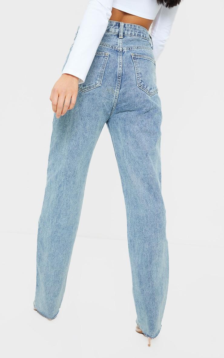 PRETTYLITTLETHING Vintage Petite Wash Long Leg Straight Jean 3