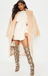 Cream Soft Touch Belted Knitted Sweater Dress 4
