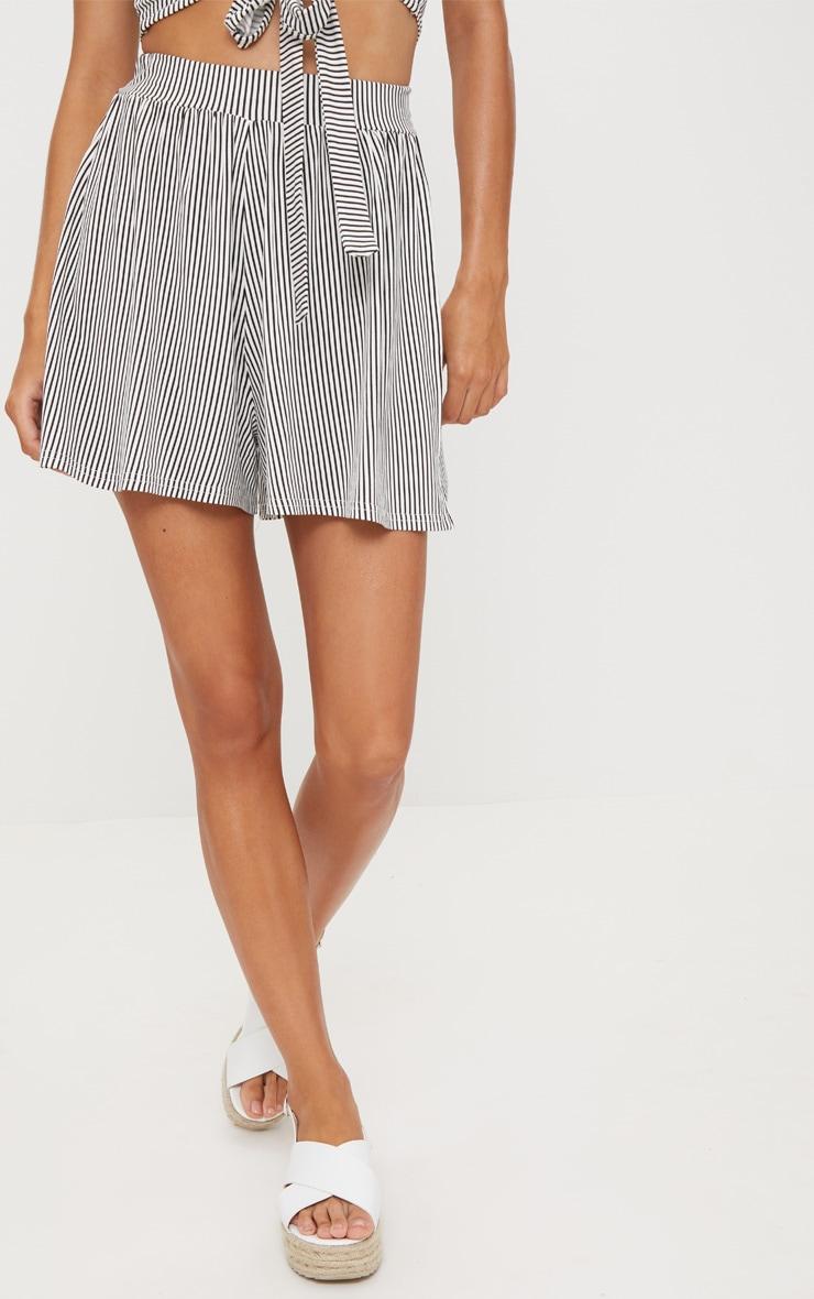 Black Stripe Jersey Floaty Shorts 2