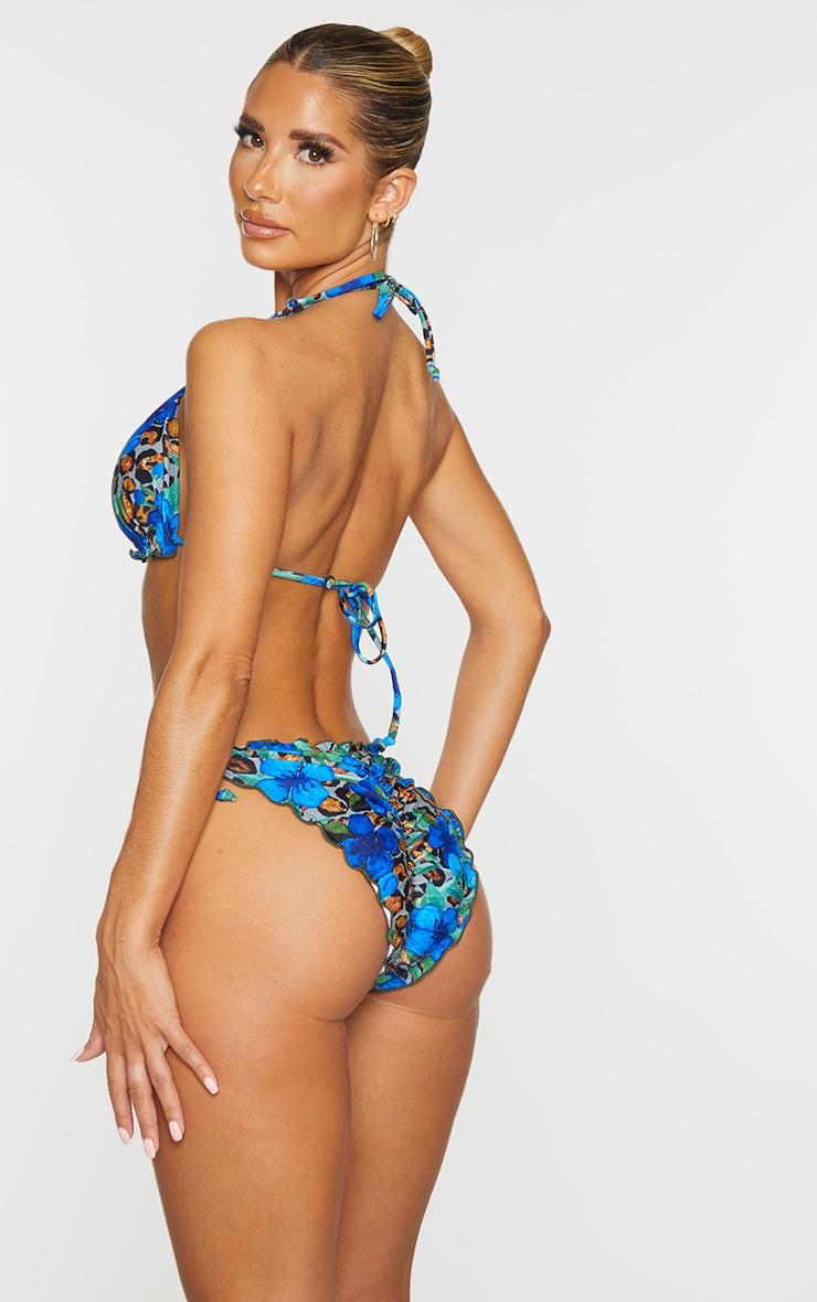 Blue Floral Animal Frill Edge Padded Bikini Top 2