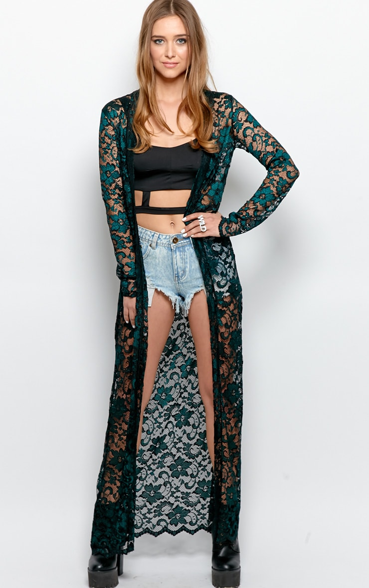 Antonia  Lace Luxe Full Length Kimono 1