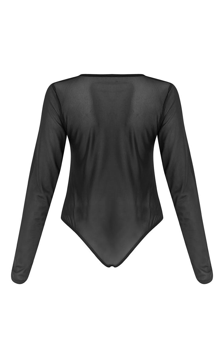 Sydnie Black Eyelet Mesh Thong Bodysuit 3