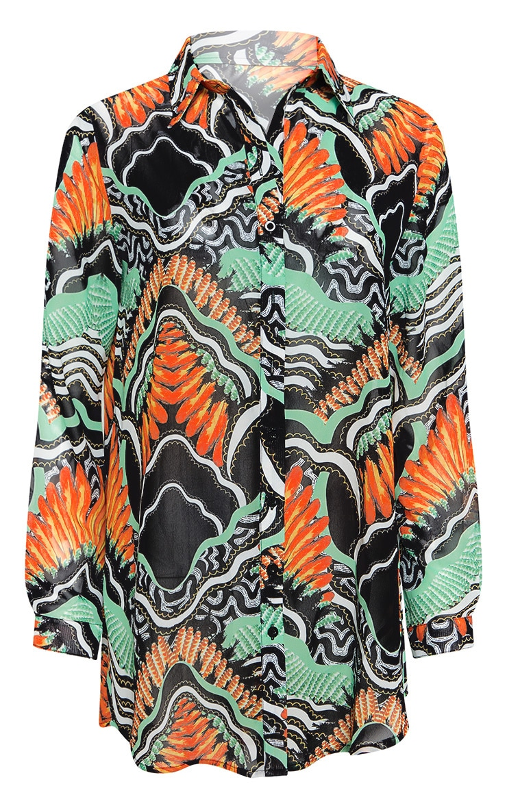 Black Tribal Print Beach Shirt 3