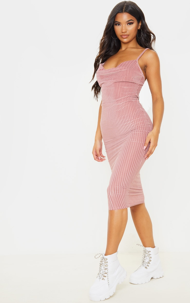 Blush Velvet Rib Cowl Neck Midi Dress 1