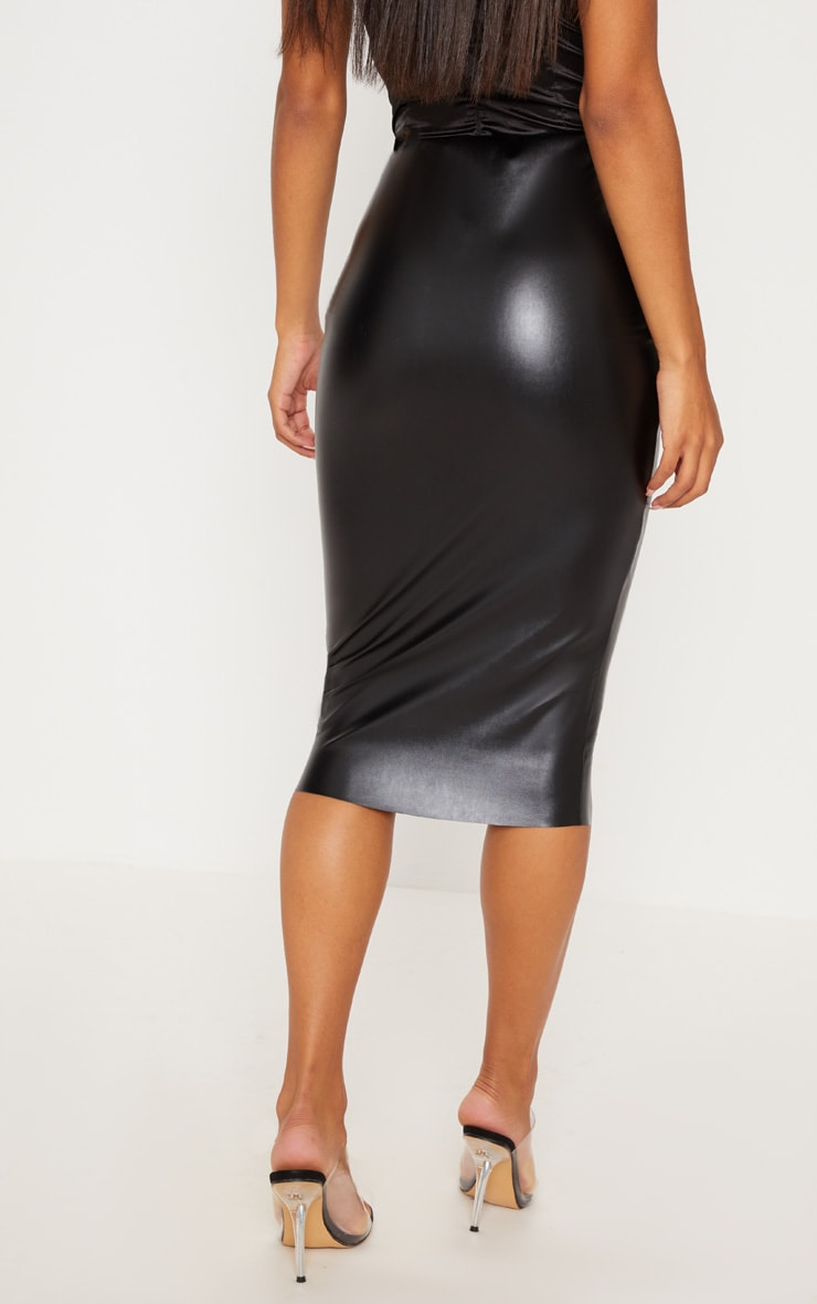 Basic Black Faux Leather Midi Skirt 4
