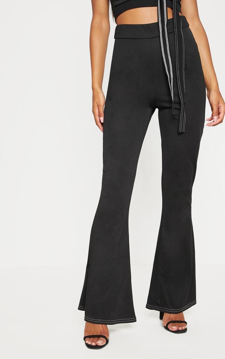 Black Contrast Stitch Flare Trouser  2