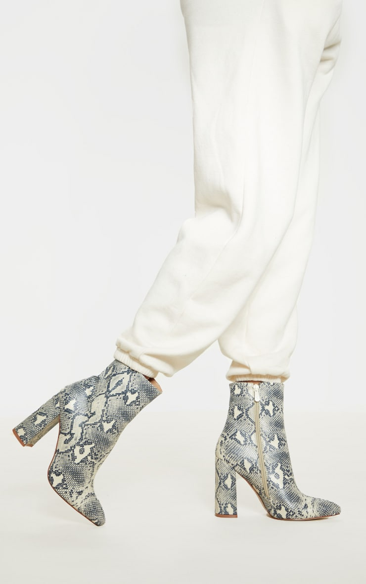 Beige Faux Snake Ankle Boot 1