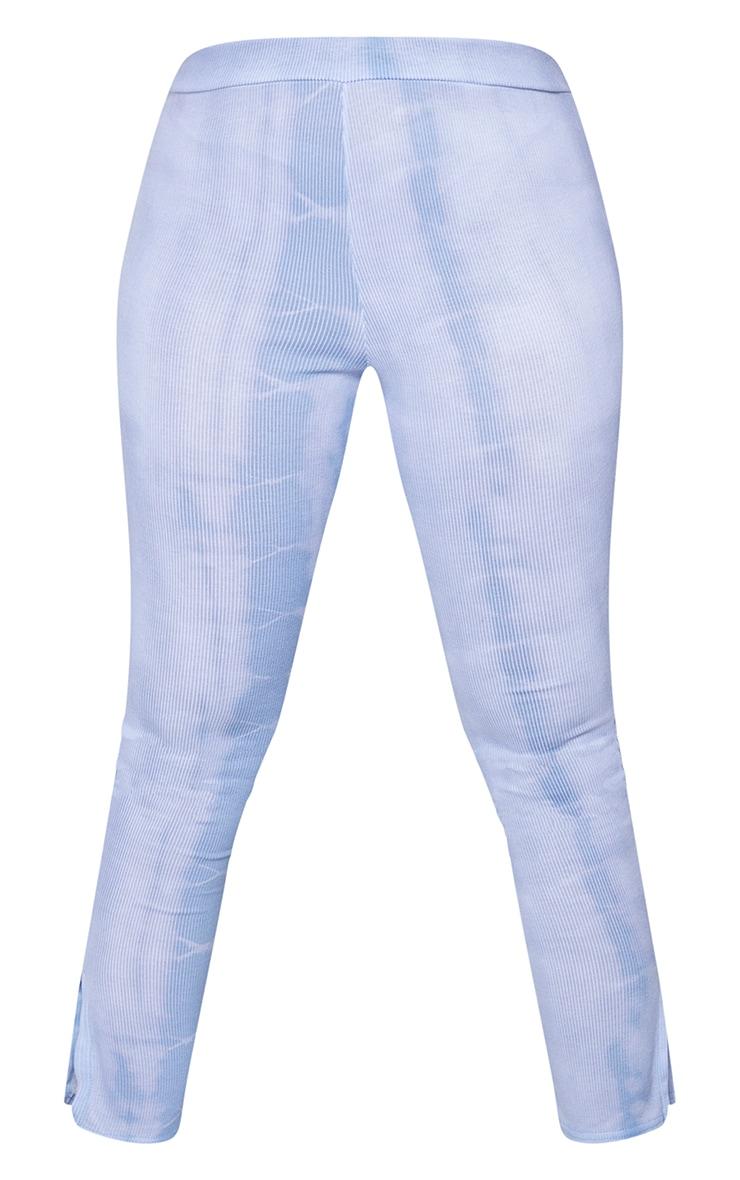 Plus Dusty Blue Tie Dye Rib Split Hem Leggings 5