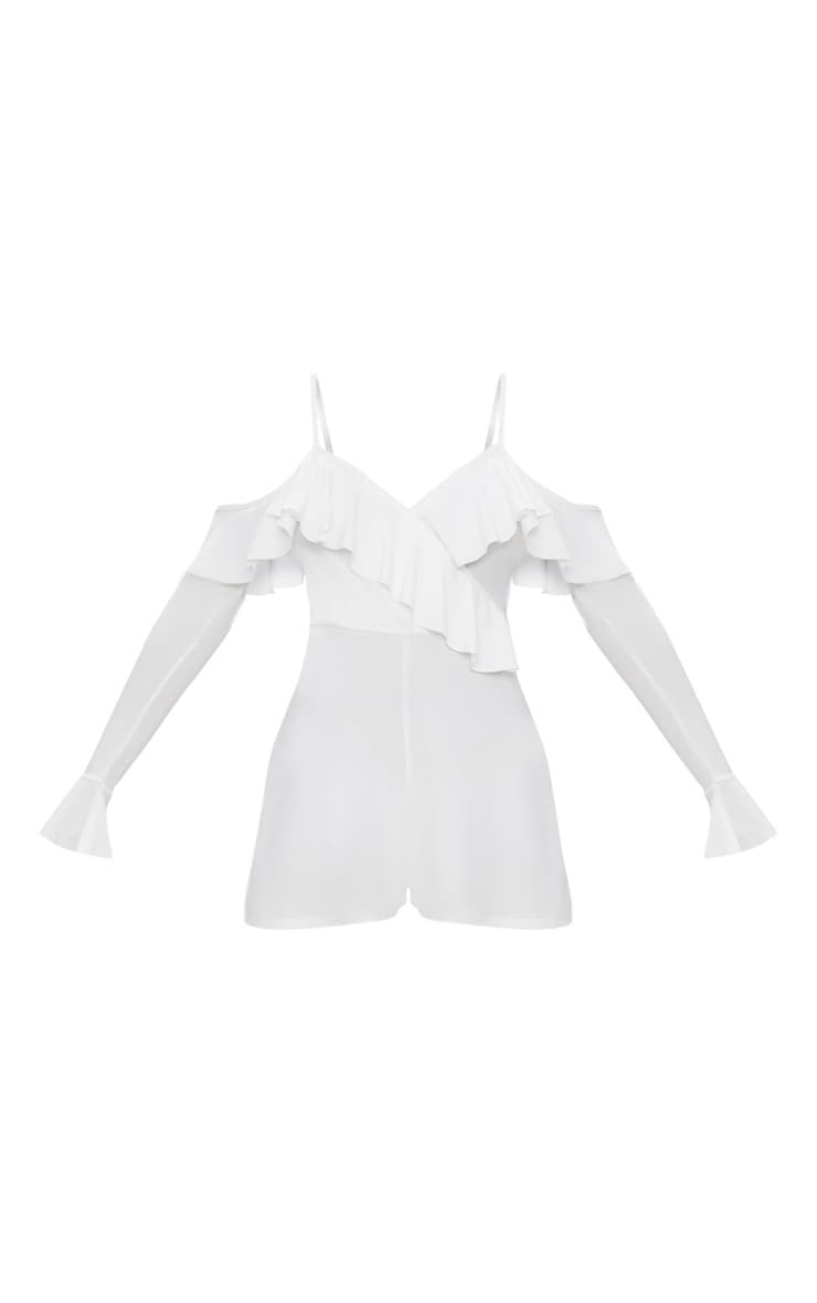 White Crepe Frill Cold Shoulder Playsuit 3