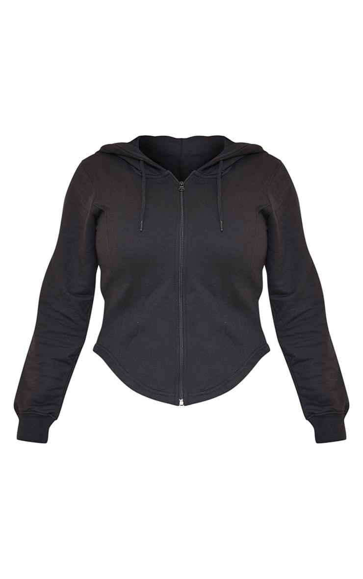 Shape Black Corset Detail Zip Up Hoodie 5